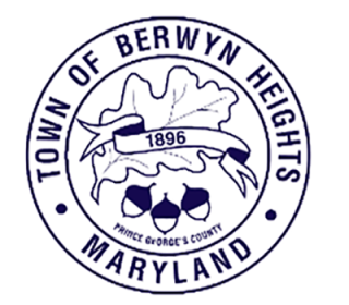 The town seal outlined in blue
